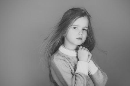 Kids face skin care. Portrait girl face in your advertisnent. healthy hair of little girl. healthy hair of small girl kid.