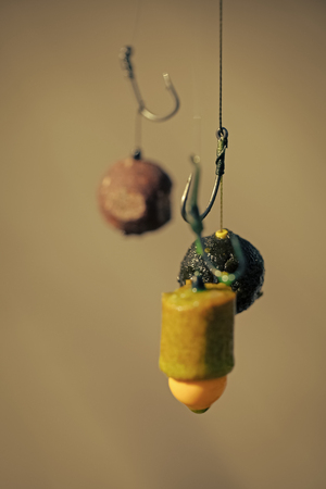 Fishing, angling. Fishhooks on line on blurred background Stok Fotoğraf