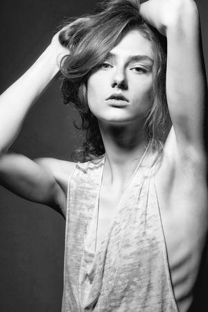 anorexia. pretty slim stylish sexy woman
