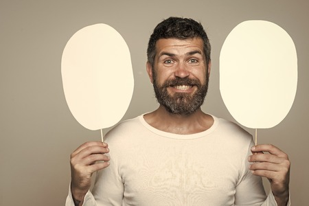 funny face. Man with long beard and mustache.