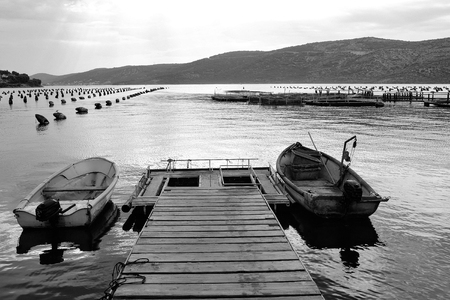 Berth with boats. Wooden pier with fishing boats 版權商用圖片