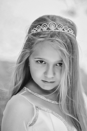 little Princess. small girl in princess crown Stock Photo