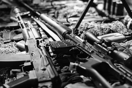 automatic rifle. War guns arsenal