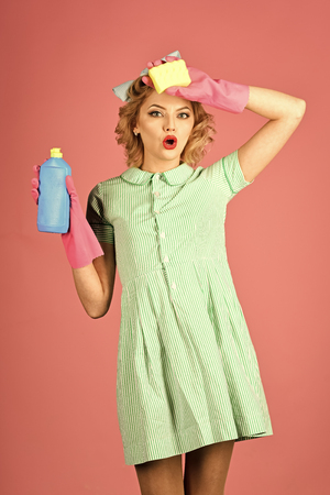 detergents. Cleaning, retro style, purity