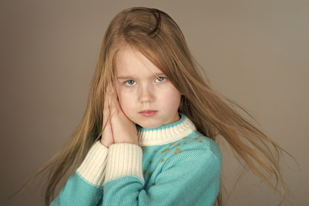 European appearance. Adorable 5-year old blue eyed little girl