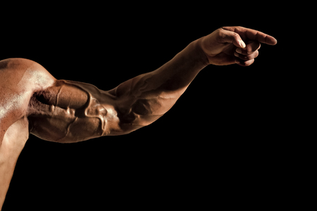 steel muscles. Hand with veins, muscles, biceps, triceps point finger Banque d'images - 102849610