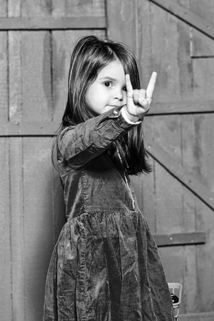 happy child. Little girl with gesture Foto de archivo - 102853065