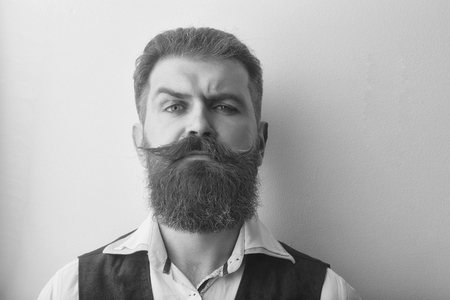 caring for the beard. bearded man, brutal caucasian hipster with serious face