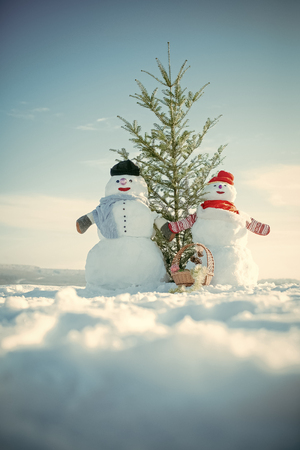 Snowman couple with green fir tree. Christmas or xmas decoration toy in basket. Banco de Imagens
