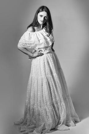 wedding dress for pregnant women. sexy girl in wedding white dress