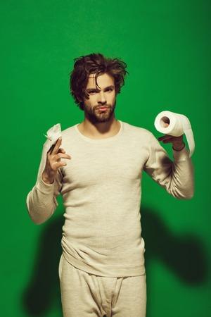 advertising toilet paper. Guy in underwear in morning Stock Photo