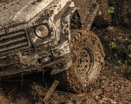 off-road. Dirty wheel of car after offroad race.