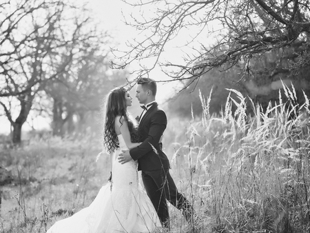 Beautiful wedding couple. Wedding couple walking outdoor