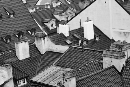 cityscape. Terracotta tiled roofs with chimneys