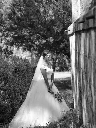 happy bride. pretty bride with flower bouquet Stock fotó