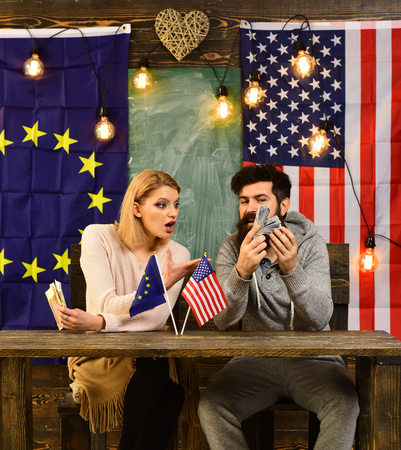 contract negotiation and business regulation. Economic partnership and finance. bearded man and woman politician at conference. foreign policy conflict. Partnership between usa and european union