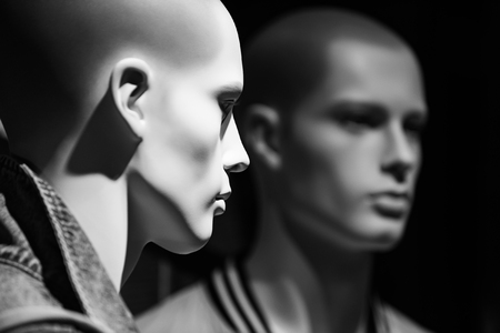 Shopping and design. mannequin people, fashion man on black background, business and marketing
