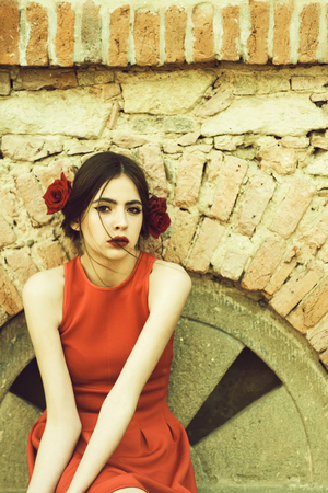 beauty and fashion. flamenco girl with fashionable makeup and rose flower in hair Archivio Fotografico - 103534148