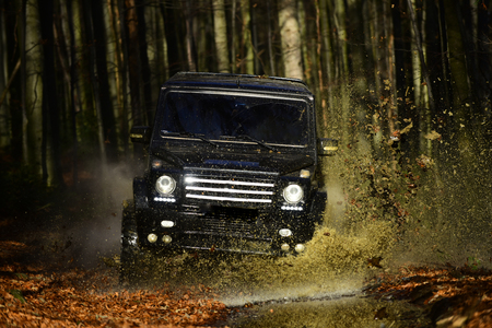 SUV or offroad car on path covered with leaves crossing puddle with water splash Car racing in autumn forest. Offroad race on fall nature background. Extreme, challenge and 4x4 vehicle concept