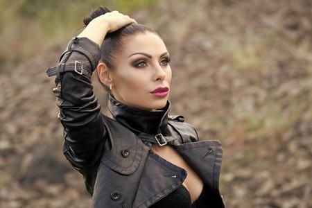 Beauty Fashion model girl. Fashion look. Woman in jacket