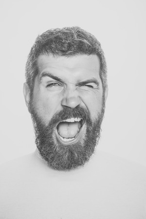 Feeling and emotions. man with long beard on happy face