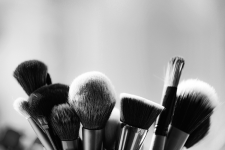 Tools for makeup. professional makeup brushes on blurred background