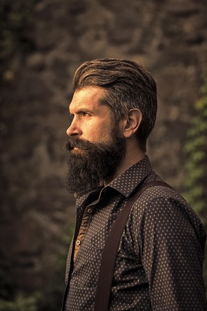 elegant bearded man. Stylish bearded man outdoor Stock Photo