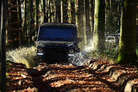 Offroad race on fall nature background. Extreme, challenge and 4x4 vehicle concept Car racing in autumn forest. SUV or offroad car on path covered with leaves crossing puddle with water splash Stock Photo