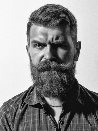 Man with serious emotion. Frown bearded man hipster Stok Fotoğraf