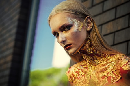 Beauty Fashion model girl. Fashion look. Makeup model face for Halloween