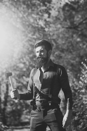 Beauty Fashion model man. Fashion look. Logger with beard Stock Photo