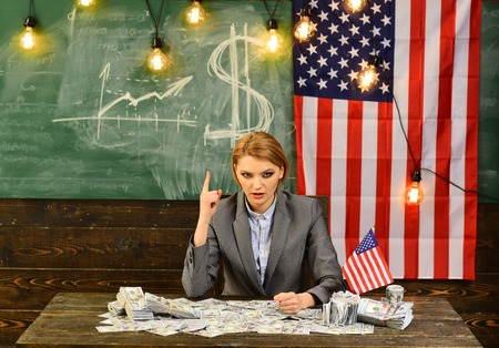American education reform at school in july 4th. american education and financial concept.