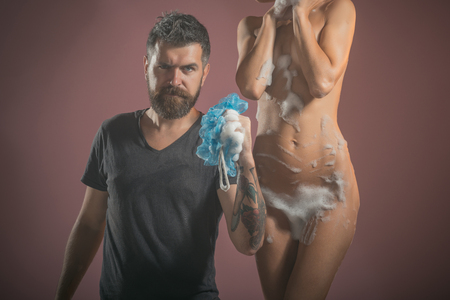 hygiene concept. hygiene of couple in love with bearded man and girl