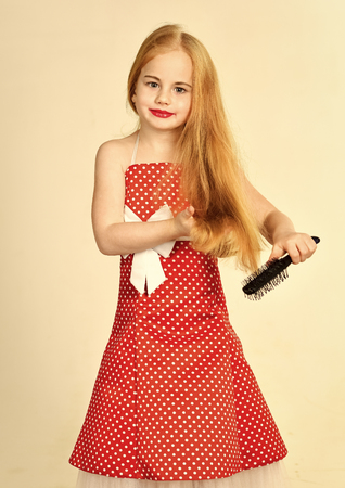 childrens hair care. Fashion and beauty, pinup style, childhood. fashion and retro style.