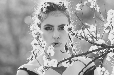 feminine purity. youth health, freshness concept, people and nature, floral design Stockfoto