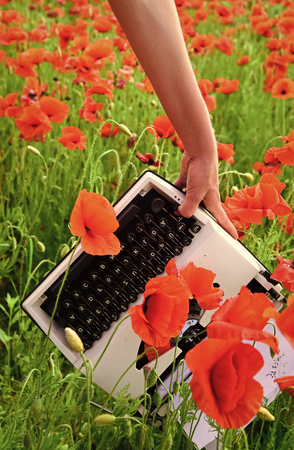 Vintage typewriter in hand, education, business, grammar. Opium poppy, agile business, ecology. Journalism and writing, summer. Poppy, new technology, Remembrance day. Drug, narcotics, opium, novel.