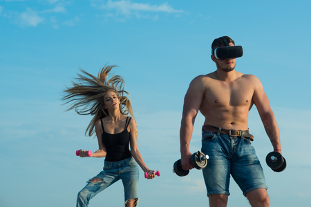 Innovation in sport. Man bodybuilder in vr headset use innovation for training. Innovation for getting stronger. Build muscle with innovation device. Trust me, I am athletic trainer