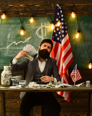 Economy and finance. economy concept with bearded man holding money.