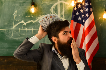 Patriotism and freedom. patriotism and financial freedom of bearded man. Stock Photo