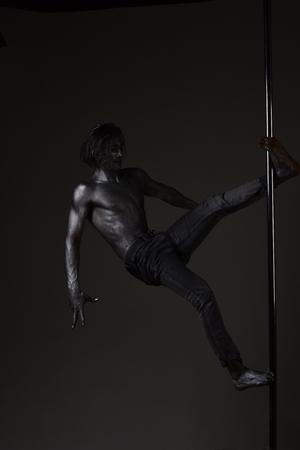 Sexy man. Striptease. Pole dance. Hot guy