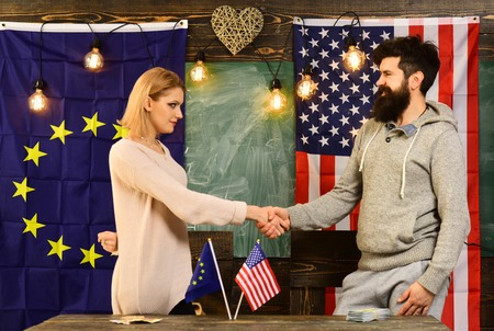 Partnership between usa and european union. partnership of man and woman politicians.