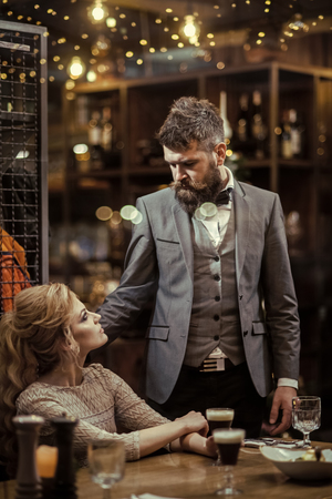 Love at first sight. Meet, proposal and anniversary. first meet of bearded man and sensual blonde woman