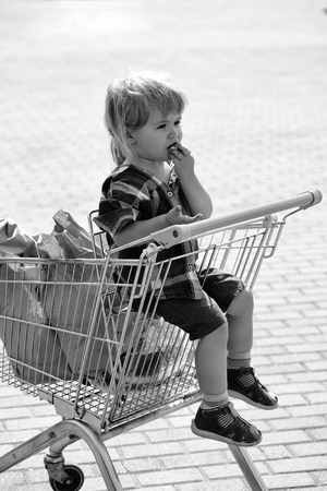 Purchases in the supermarket. Cute baby boy blond child in plaid shirt sits in shopping trolley and eats cookie from paper packet outdoors on sunny day