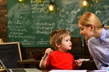 Professor and school student at the classroom in a school, Charismatic teachers are greateverybody loves them, Teacher sets high expectations for his students Reklamní fotografie