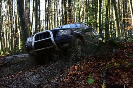 Sport utility vehicle or SUV overcomes obstacles. Motor racing in autumn forest Offroad race on fall nature background. Rallying, competition and four wheel drive concept Stock Photo