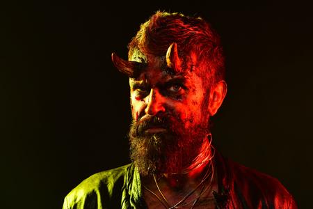 Halloween man demon on black background