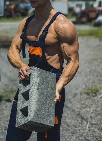 Power concept. Brick in fit arms with biceps and triceps muscle, power. Muscular power. Real power lies in his hands. Banco de Imagens