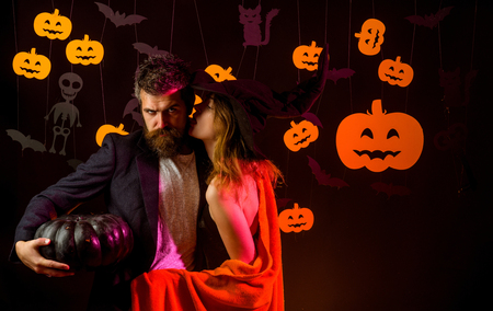 The Most Popular Candy for Halloween. Happy loving couple. Happy halloween shirt. Secrets of Magic for Happy Halloween. Sexy couple. Couple in love. Nude couple.