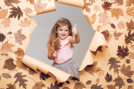 Hello Autumn and Autumn Dreams. Autumnal foliage. slogan or product. Rain and umbrella november concept. Happy children. Promotional products. Autumn Clothing. Copy space for advertising.