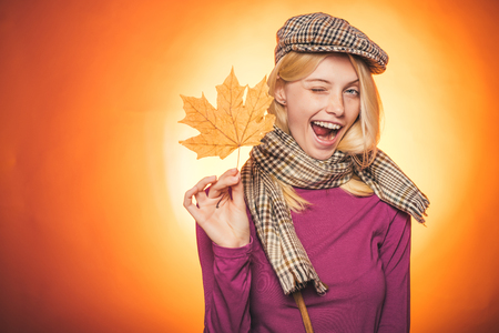 Autumn is a beautiful and colourful time of year. Autumn celebrate. Hello Autumn and Autumn Dreams. Advertisement concept. Sensual girl. Promotional products. Happy smiling woman. Advertising agency.